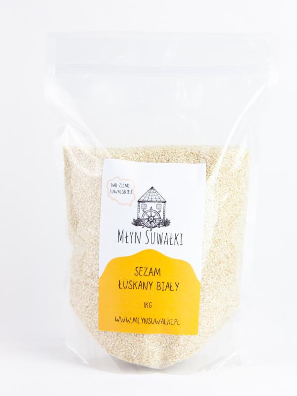 SEZAM ŁUSKANY Biały Naturalny Ziarno 1kg